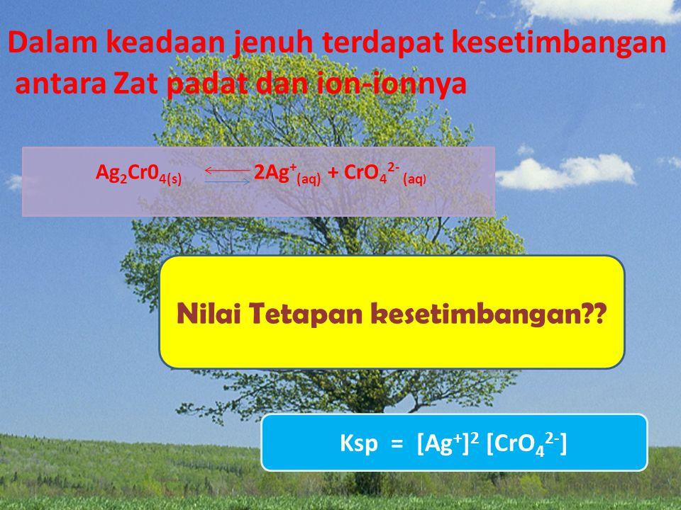 air NaCl 0.5 gr AgCl 0.5 gr Ag 2 CrO 4 0.5 gr Garam yang mudah larut adalah..... Garam yang sukar larut adalah.....