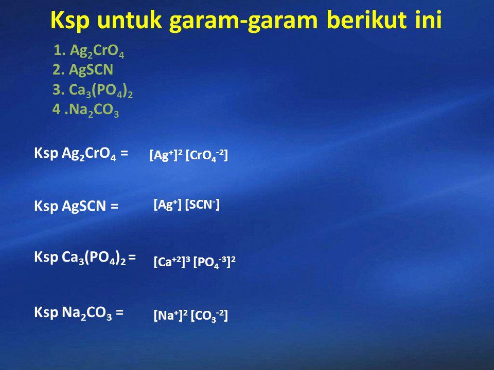 Ag 2 Cr0 4(s) 2Ag + (aq) + CrO 4 2- (aq ) Dalam keadaan jenuh terdapat kesetimbangan antara Zat padat dan ion-ionnya Nilai Tetapan kesetimbangan?? Ksp
