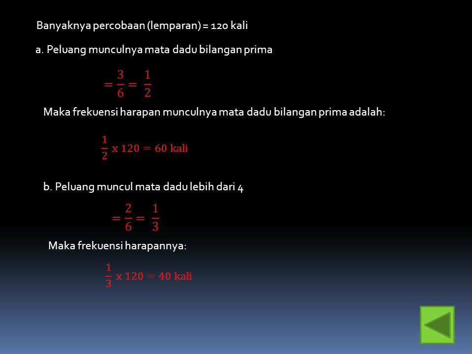 9.Jika sebuah dadu dilemparkan 120 kali, maka tentukan frekuensi harapan munculnya: a.