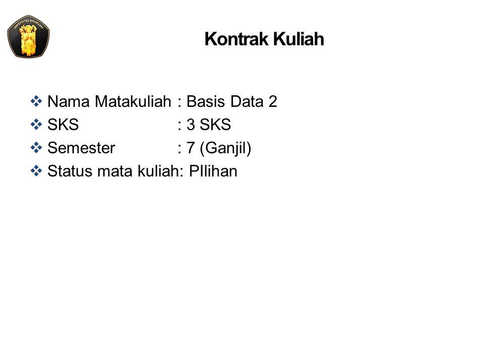 Kontrak Kuliah  Nama Matakuliah: Basis Data 2  SKS: 3 SKS  Semester: 7 (Ganjil)  Status mata kuliah: PIlihan