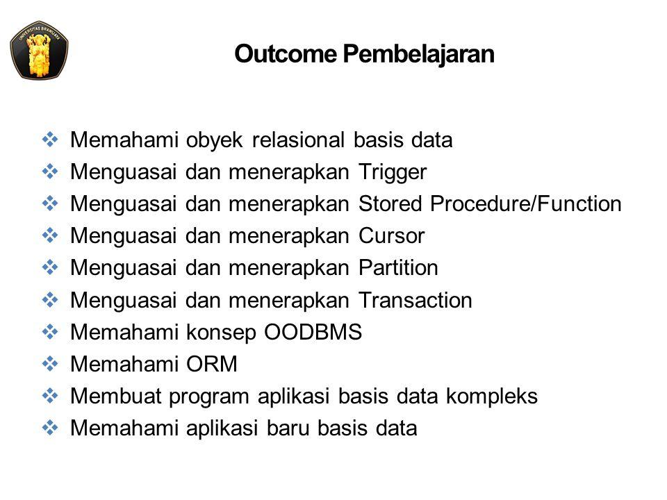 Kontrak Kuliah Minggu Ke- Pokok Bahasan Cacah Kegiatan Jumlah Jam (@50 menit) 1 Arsitektur Sistem Basis Data1 kali2+1 2 Obyek Relasional Basis Data (Table, View, Index, Constraint,Key ) 3 kali2+1 3 Obyek Basis Data (Trigger, Stored Procedure, Function, Cursor, Partition,Transaction) 3 kali2+1 8UTS 9Data Warehousing dan Decision Support1 kali(2+1)x3 10 Data Mining1 k 11 Information Retrieval dan XML Data1 kali 12 Sistem Manajemen Basis Data(RDMBS, OODBMS) 1 kali2+1 13Basis Data Berorientasi Obyek1 kali2+1 14Perkembangan Baru Aplikasi Database1 kali2+1 15Presentasi Proyek1 kali2+1 16UAS