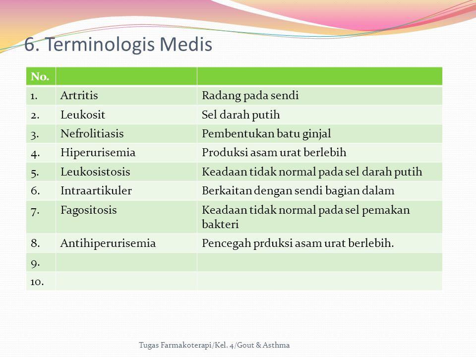 6. Terminologis Medis Tugas Farmakoterapi/Kel. 4/Gout & Asthma No. 1.ArtritisRadang pada sendi 2.LeukositSel darah putih 3.NefrolitiasisPembentukan ba