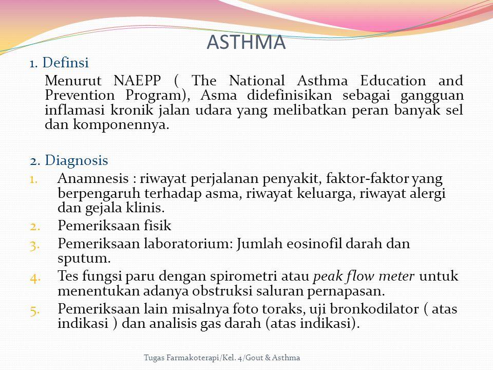 ASTHMA 1. Definsi Menurut NAEPP ( The National Asthma Education and Prevention Program), Asma didefinisikan sebagai gangguan inflamasi kronik jalan ud