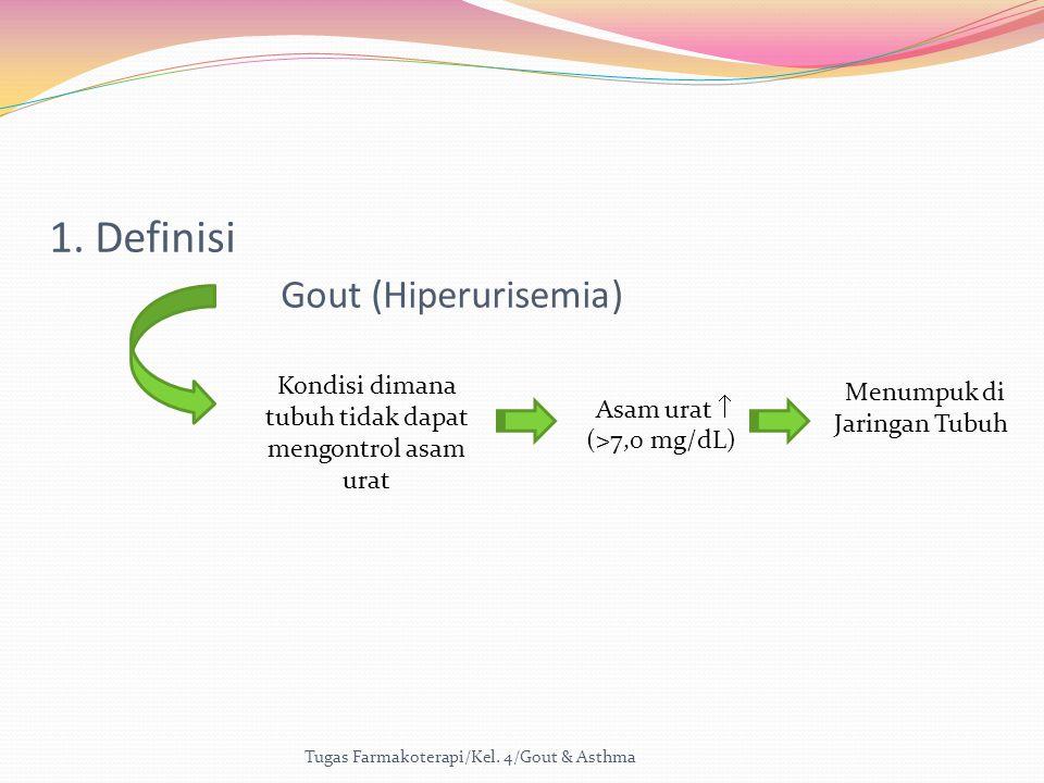 Kondisi dimana tubuh tidak dapat mengontrol asam urat Asam urat  (>7,0 mg/dL) Menumpuk di Jaringan Tubuh 1. Definisi Gout (Hiperurisemia)