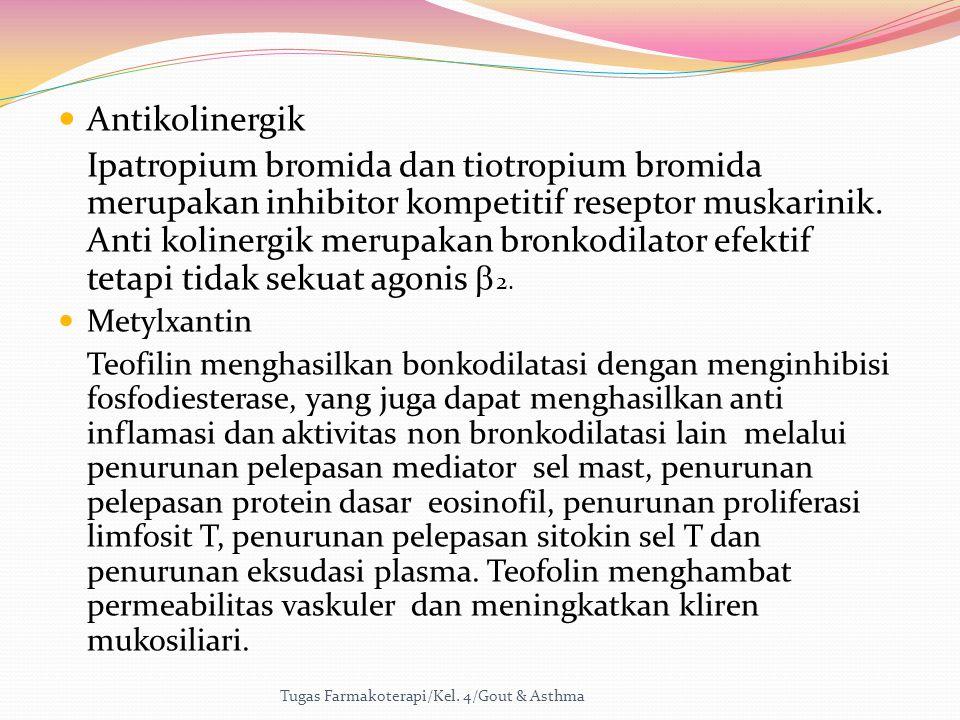 Antikolinergik Ipatropium bromida dan tiotropium bromida merupakan inhibitor kompetitif reseptor muskarinik. Anti kolinergik merupakan bronkodilator e