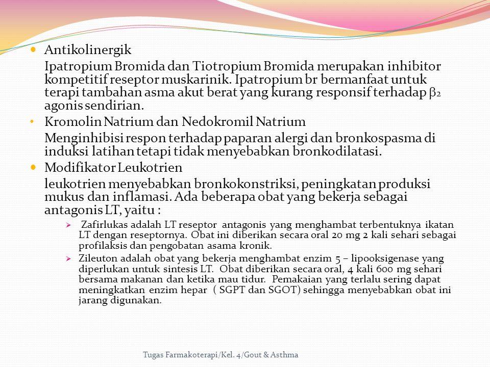 Antikolinergik Ipatropium Bromida dan Tiotropium Bromida merupakan inhibitor kompetitif reseptor muskarinik. Ipatropium br bermanfaat untuk terapi tam
