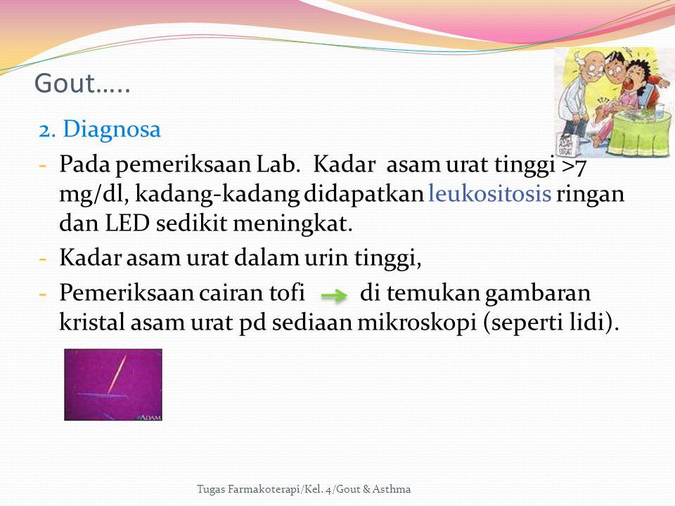 Gout….. 2. Diagnosa - Pada pemeriksaan Lab. Kadar asam urat tinggi >7 mg/dl, kadang-kadang didapatkan leukositosis ringan dan LED sedikit meningkat. -