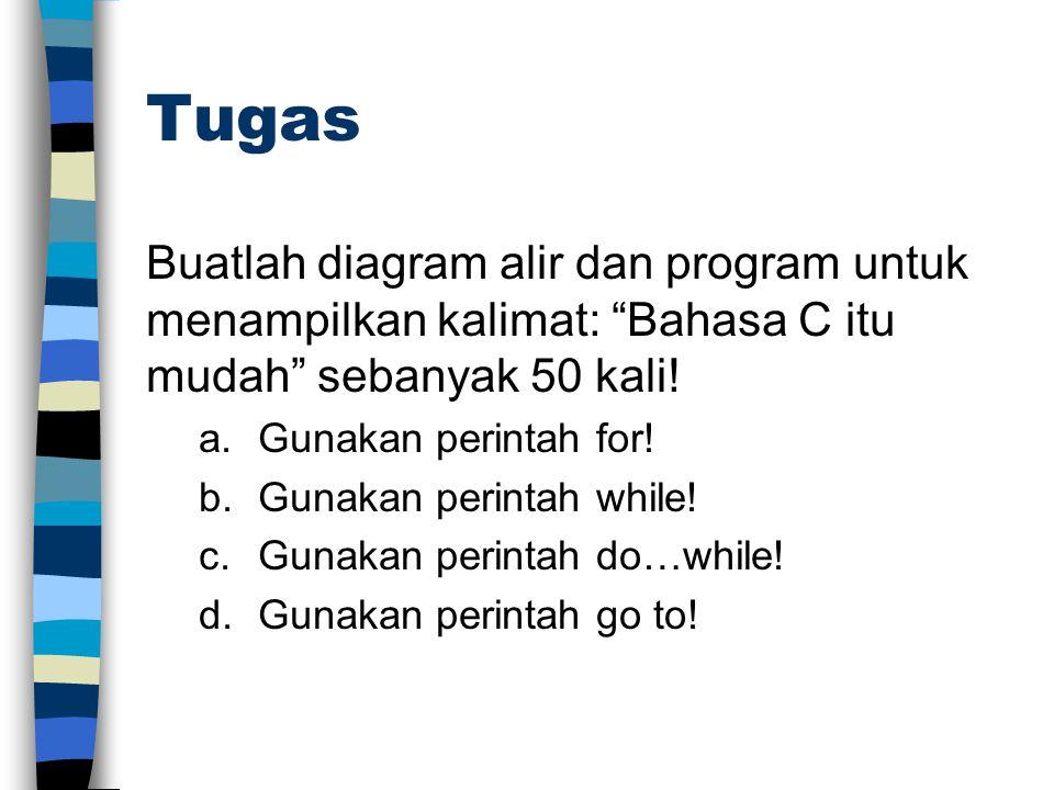 Tugas Buatlah diagram alir dan program untuk menampilkan kalimat: Bahasa C itu mudah sebanyak 50 kali.