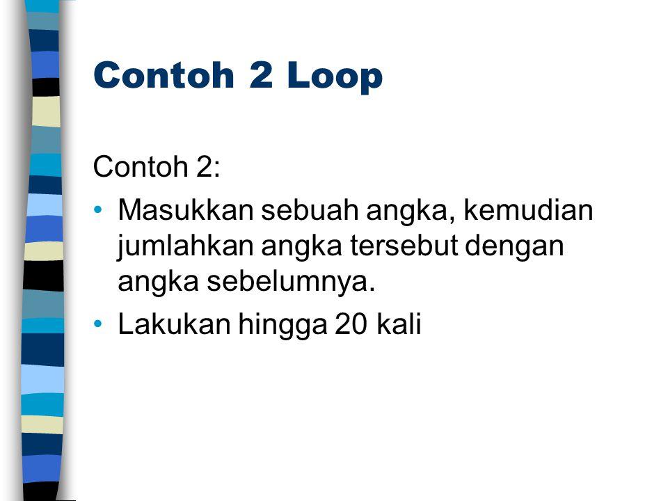 Contoh 2 Loop Contoh 2: Masukkan sebuah angka, kemudian jumlahkan angka tersebut dengan angka sebelumnya.