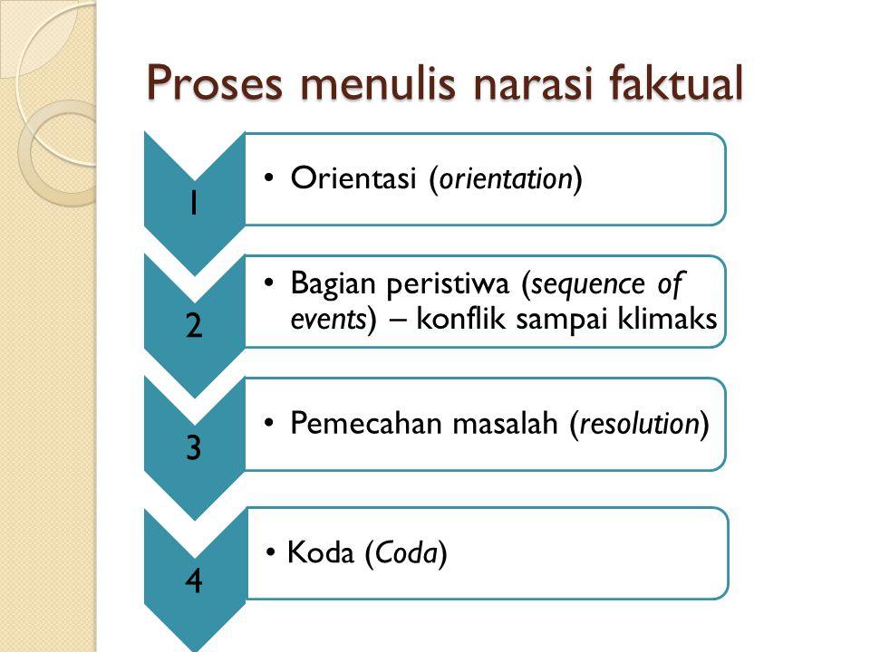 Proses menulis narasi faktual 1 Orientasi (orientation) 2 Bagian peristiwa (sequence of events) – konflik sampai klimaks 3 Pemecahan masalah (resoluti
