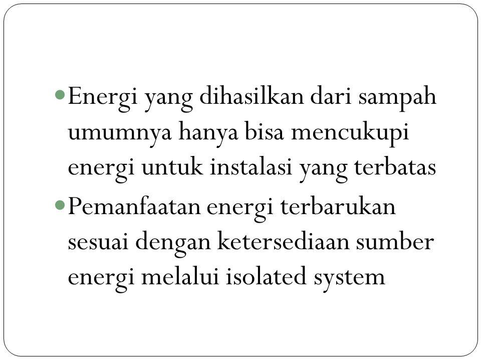 Energi yang dihasilkan dari sampah umumnya hanya bisa mencukupi energi untuk instalasi yang terbatas Pemanfaatan energi terbarukan sesuai dengan keter