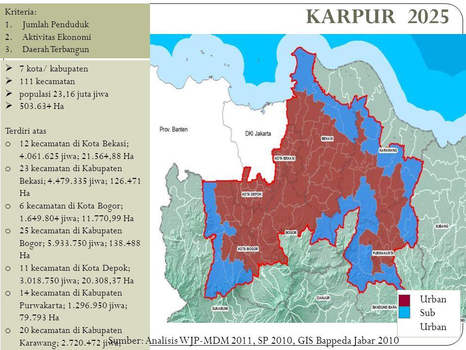 METROPOLITAN BODEBEK KARPUR 2025  7 kota/ kabupaten  111 kecamatan  populasi 23,16 juta jiwa  503.634 Ha Terdiri atas o 12 kecamatan di Kota Bekas