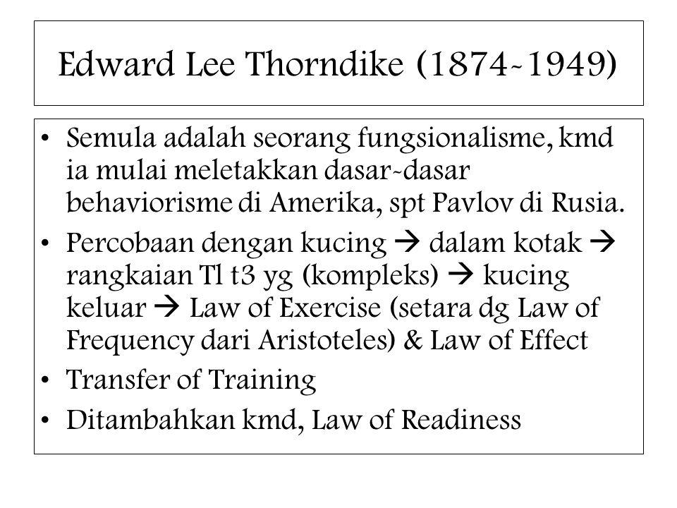 Edward Lee Thorndike (1874-1949) Semula adalah seorang fungsionalisme, kmd ia mulai meletakkan dasar-dasar behaviorisme di Amerika, spt Pavlov di Rusi