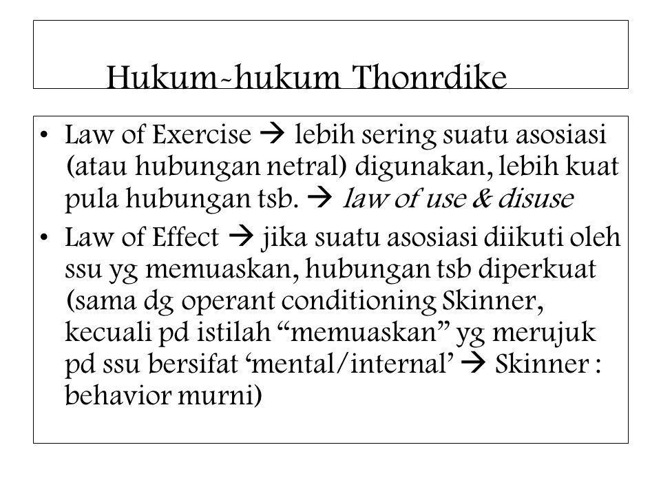 Hukum-hukum Thonrdike Law of Exercise  lebih sering suatu asosiasi (atau hubungan netral) digunakan, lebih kuat pula hubungan tsb.  law of use & dis