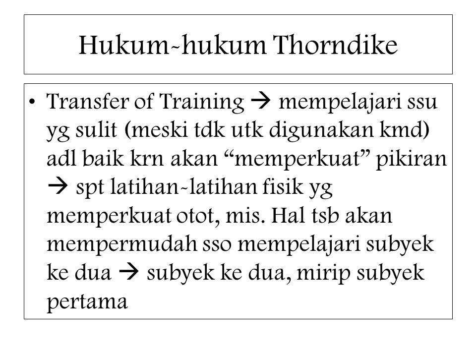 """Hukum-hukum Thorndike Transfer of Training  mempelajari ssu yg sulit (meski tdk utk digunakan kmd) adl baik krn akan """"memperkuat"""" pikiran  spt latih"""