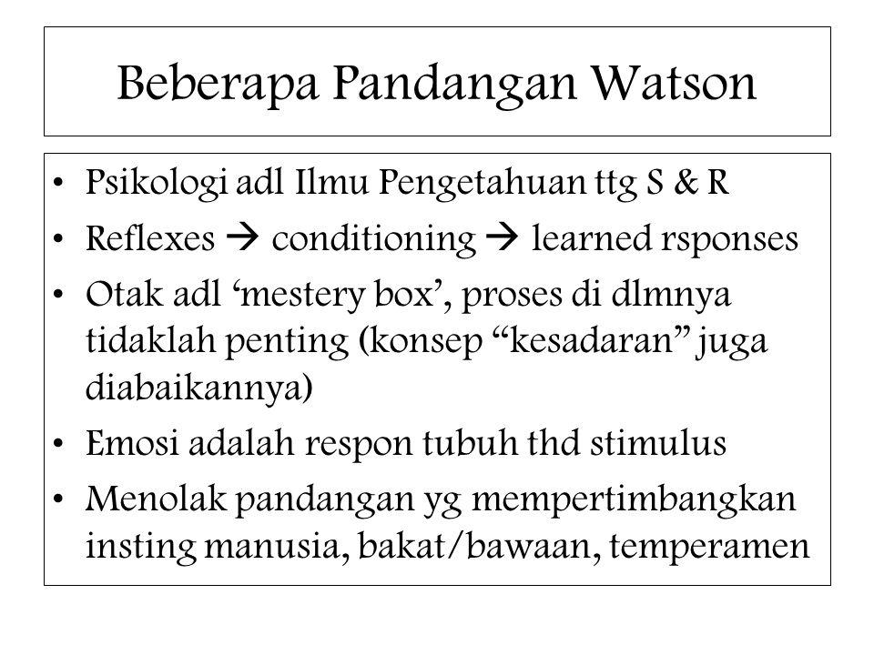 Beberapa Pandangan Watson Psikologi adl Ilmu Pengetahuan ttg S & R Reflexes  conditioning  learned rsponses Otak adl 'mestery box', proses di dlmnya