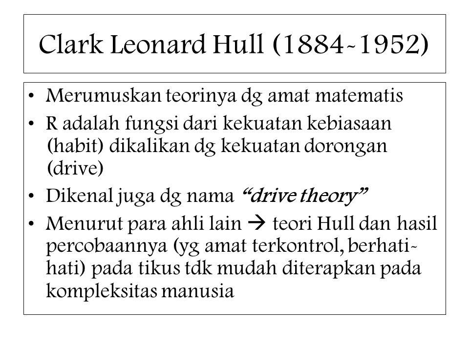 Clark Leonard Hull (1884-1952) Merumuskan teorinya dg amat matematis R adalah fungsi dari kekuatan kebiasaan (habit) dikalikan dg kekuatan dorongan (d