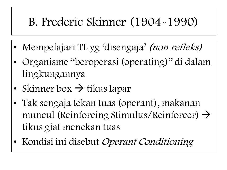 """B. Frederic Skinner (1904-1990) Mempelajari TL yg 'disengaja' (non refleks) Organisme """"beroperasi (operating)"""" di dalam lingkungannya Skinner box  ti"""