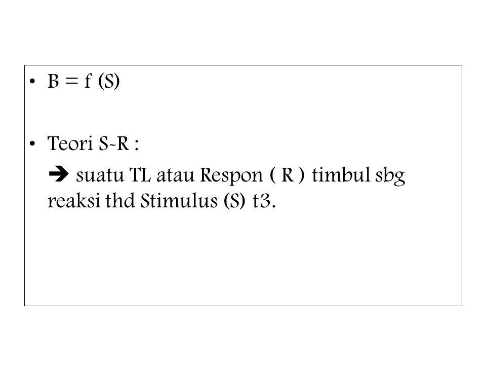 B = f (S) Teori S-R :  suatu TL atau Respon ( R ) timbul sbg reaksi thd Stimulus (S) t3.