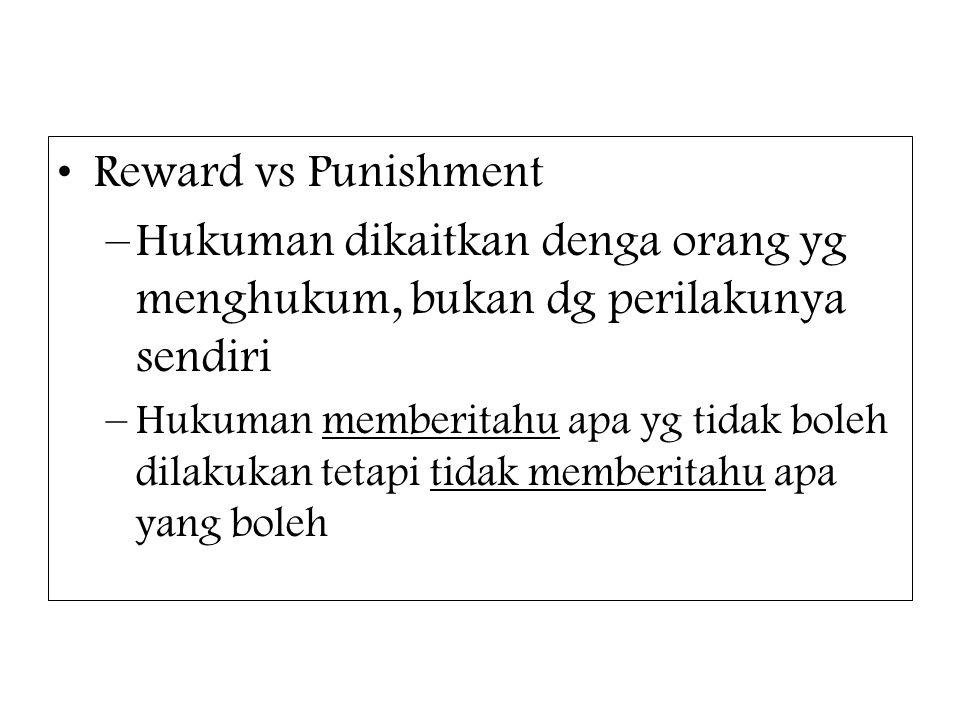 Reward vs Punishment –Hukuman dikaitkan denga orang yg menghukum, bukan dg perilakunya sendiri –Hukuman memberitahu apa yg tidak boleh dilakukan tetap