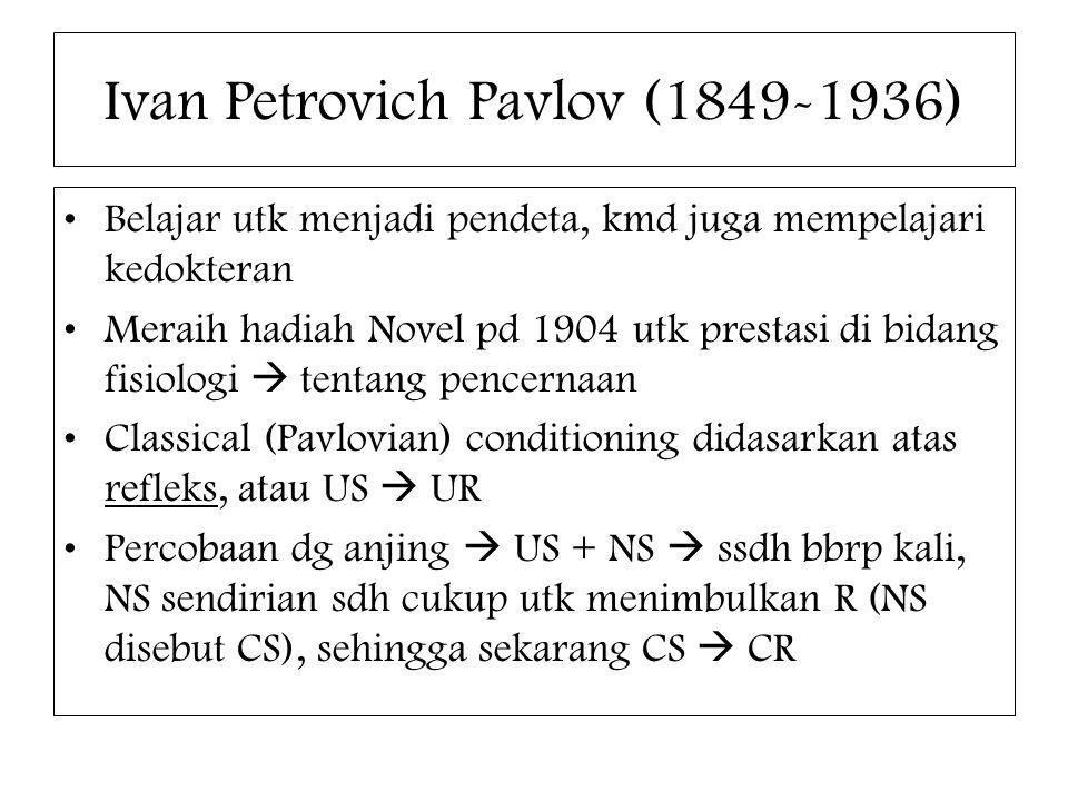 Ivan Petrovich Pavlov (1849-1936) Belajar utk menjadi pendeta, kmd juga mempelajari kedokteran Meraih hadiah Novel pd 1904 utk prestasi di bidang fisi