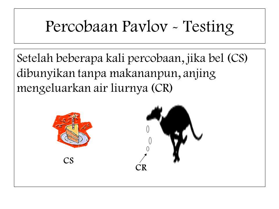 Percobaan Pavlov - Testing Setelah beberapa kali percobaan, jika bel (CS) dibunyikan tanpa makananpun, anjing mengeluarkan air liurnya (CR) CS CR