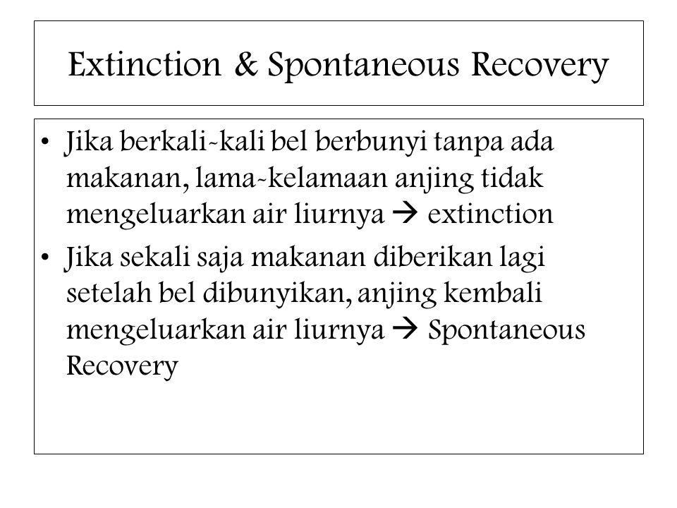 Extinction & Spontaneous Recovery Jika berkali-kali bel berbunyi tanpa ada makanan, lama-kelamaan anjing tidak mengeluarkan air liurnya  extinction J