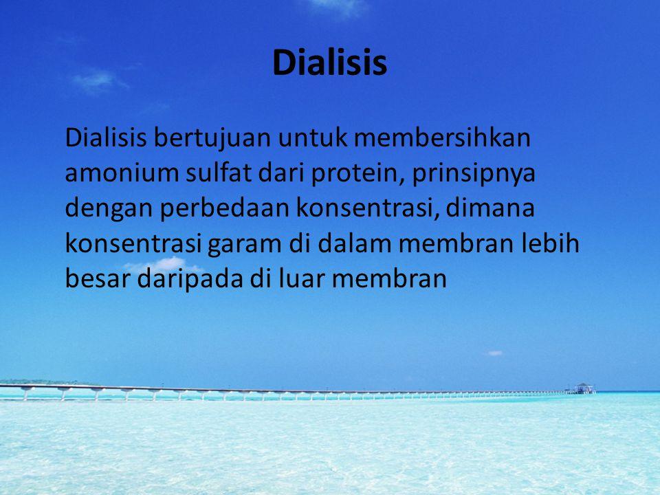 Dialisis Dialisis bertujuan untuk membersihkan amonium sulfat dari protein, prinsipnya dengan perbedaan konsentrasi, dimana konsentrasi garam di dalam