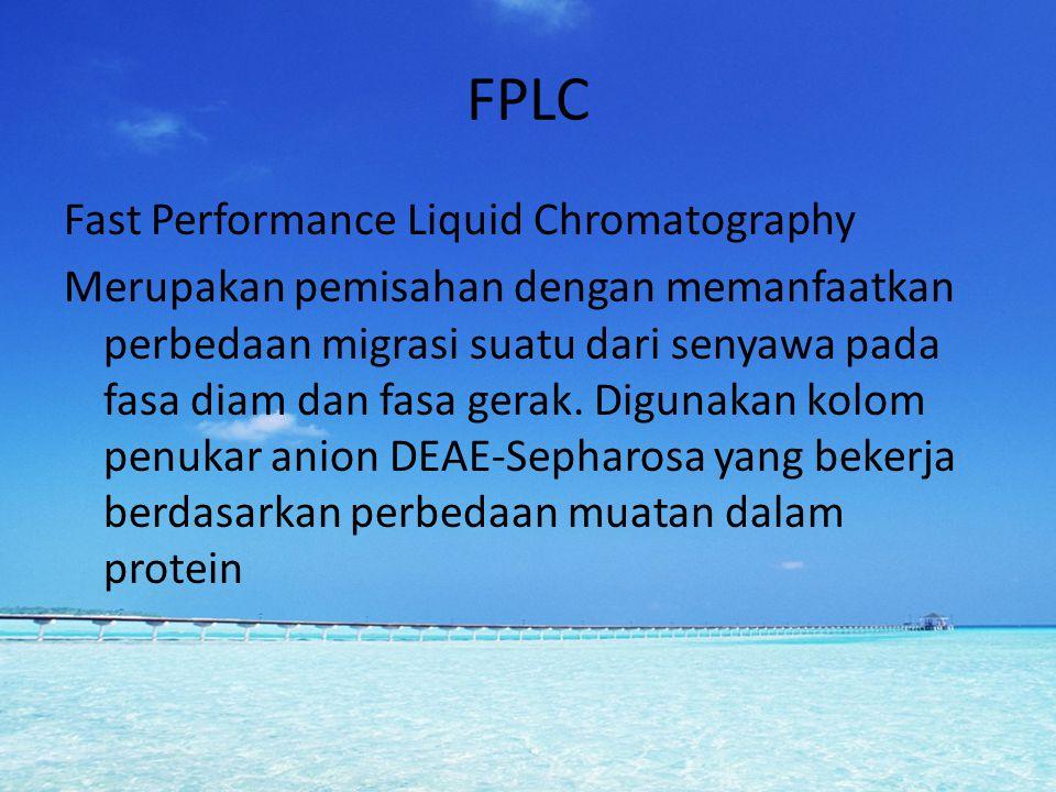 FPLC Fast Performance Liquid Chromatography Merupakan pemisahan dengan memanfaatkan perbedaan migrasi suatu dari senyawa pada fasa diam dan fasa gerak
