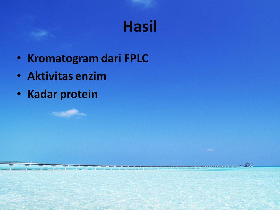 Hasil Kromatogram dari FPLC Aktivitas enzim Kadar protein