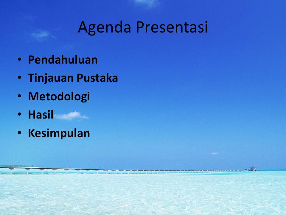 Agenda Presentasi Pendahuluan Tinjauan Pustaka Metodologi Hasil Kesimpulan