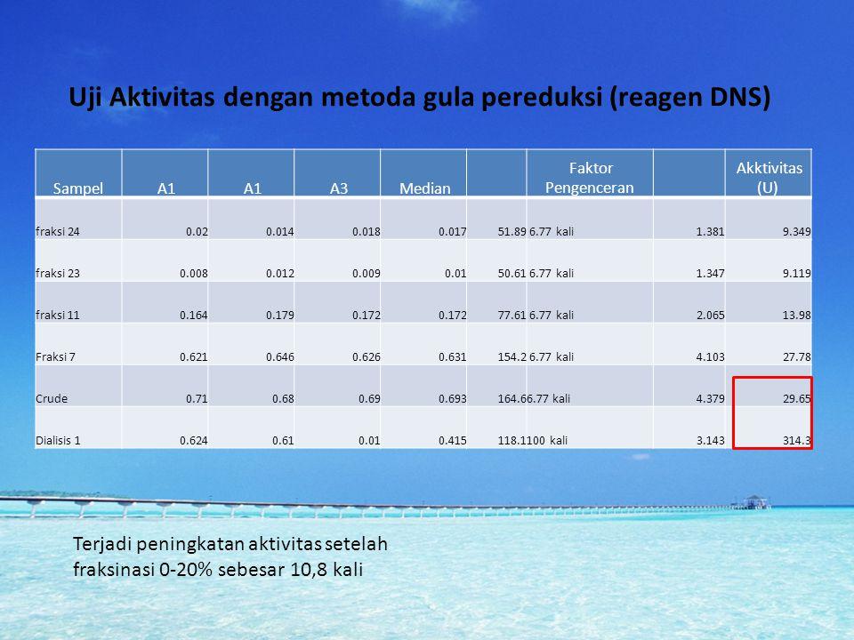 Uji Aktivitas dengan metoda gula pereduksi (reagen DNS) Sampel A1 A3 Median Faktor Pengenceran Akktivitas (U) fraksi 240.020.0140.0180.01751.89 6.77 k