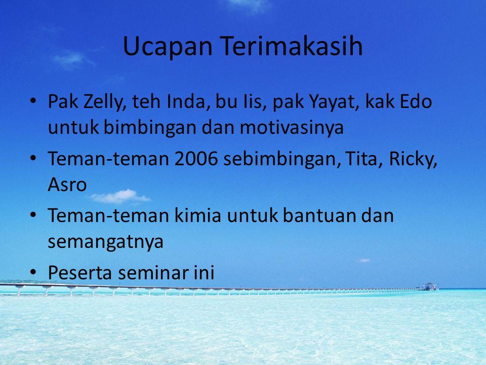 Ucapan Terimakasih Pak Zelly, teh Inda, bu Iis, pak Yayat, kak Edo untuk bimbingan dan motivasinya Teman-teman 2006 sebimbingan, Tita, Ricky, Asro Tem