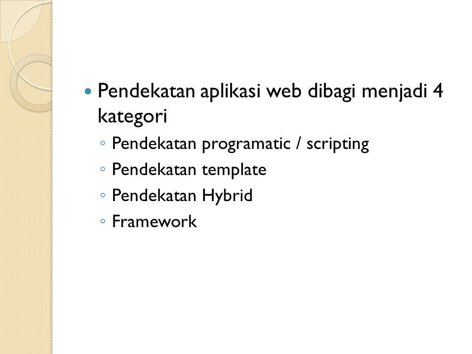 Pendekatan Programmatic Pada pendekatan programmatic atau scripting sumber akan berhubungan dengan objek halaman yang sebagian besar berisi kode yang di tulis dalam bahasa pemograman tingkat tinggi.