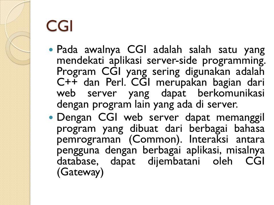Java Servlet Api Java servlet api mengimplementasikan pendekatan sisi server java untuk generasi halaman dinamis.