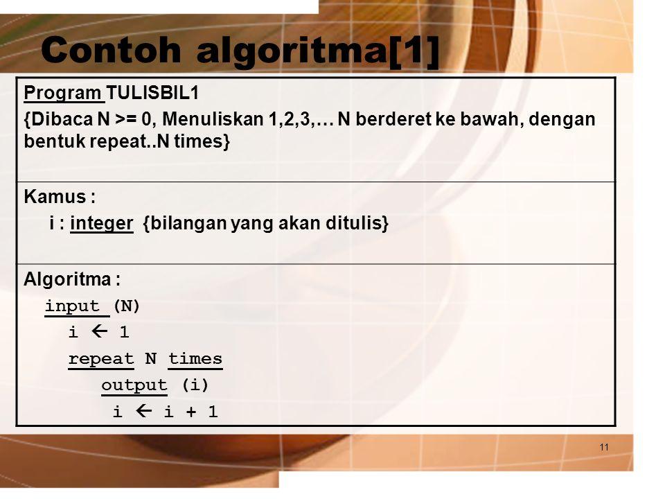 11 Contoh algoritma[1] Program TULISBIL1 {Dibaca N >= 0, Menuliskan 1,2,3,… N berderet ke bawah, dengan bentuk repeat..N times} Kamus : i : integer {b