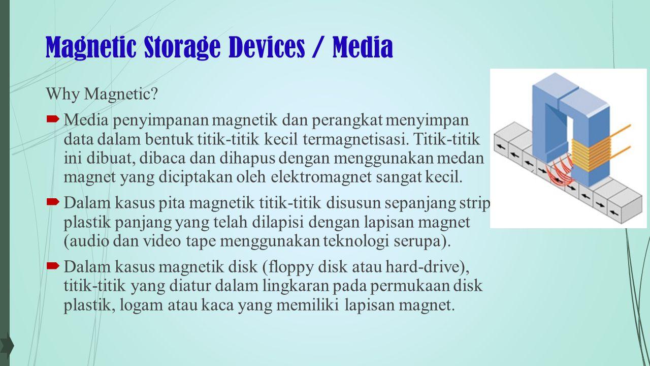 Magnetic Storage Devices / Media Hard Drives  Hard drive memiliki kapasitas penyimpanan yang sangat besar (sampai 1TB).