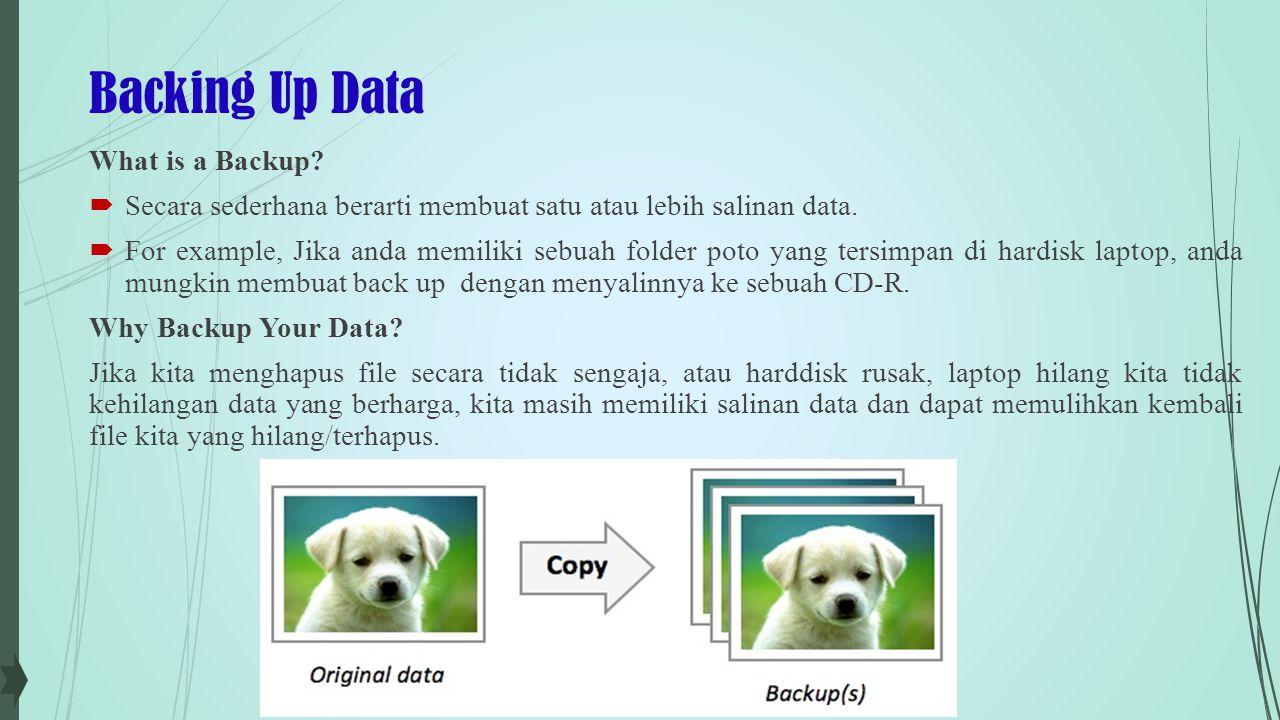 Backing Up Data What is a Backup. Secara sederhana berarti membuat satu atau lebih salinan data.