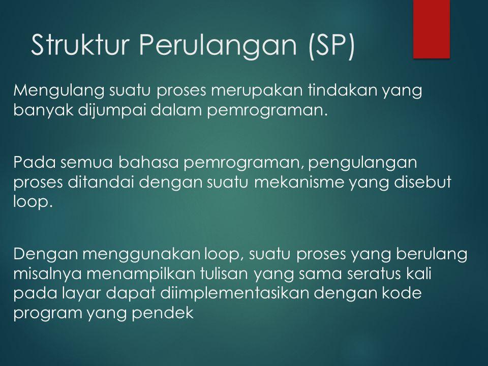 Struktur Perulangan (SP) Mengulang suatu proses merupakan tindakan yang banyak dijumpai dalam pemrograman.