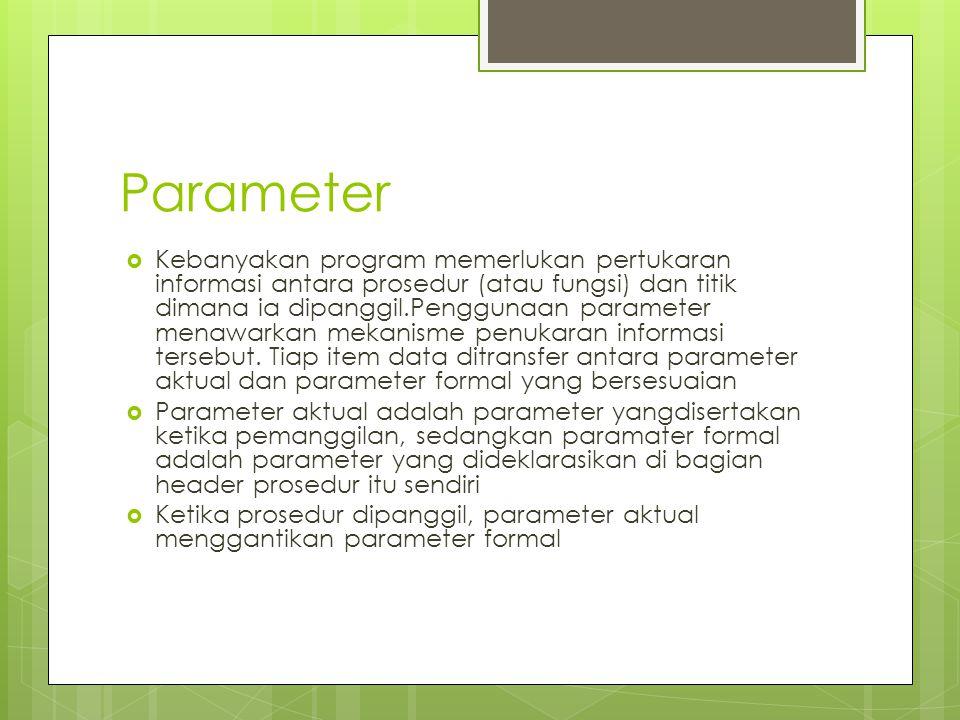 Parameter  Kebanyakan program memerlukan pertukaran informasi antara prosedur (atau fungsi) dan titik dimana ia dipanggil.Penggunaan parameter menawarkan mekanisme penukaran informasi tersebut.