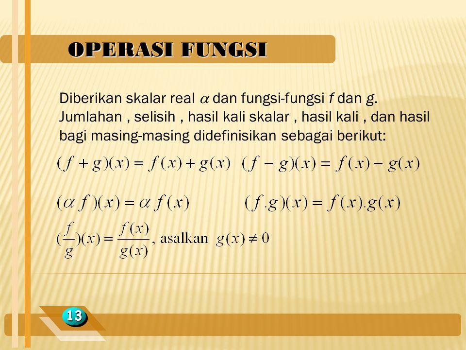 OPERASI FUNGSI 1313 Diberikan skalar real  dan fungsi-fungsi f dan g. Jumlahan, selisih, hasil kali skalar, hasil kali, dan hasil bagi masing-masing