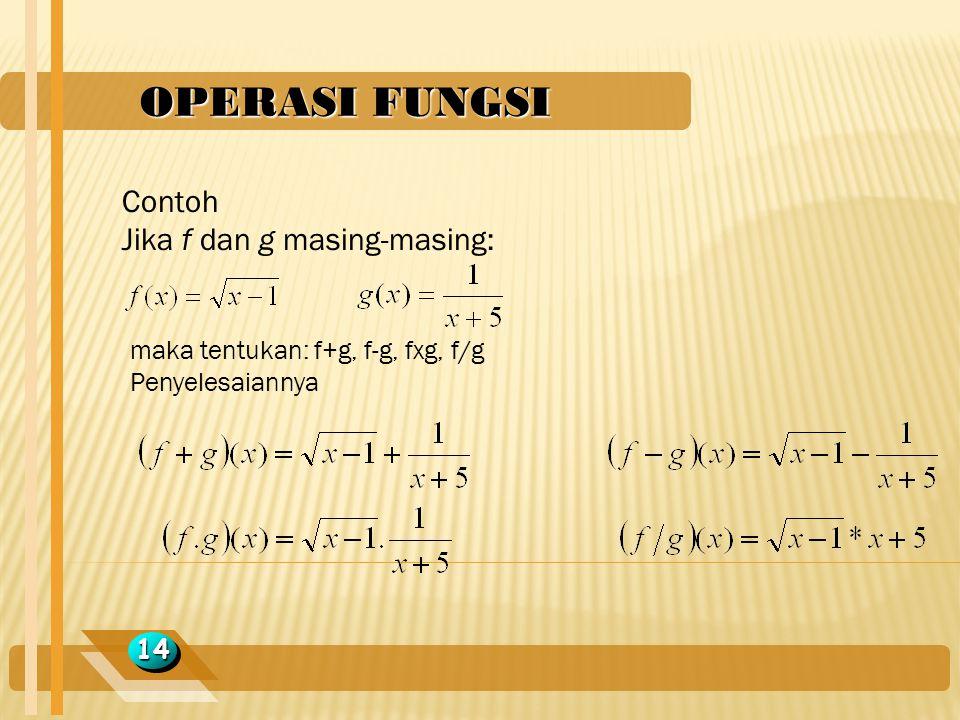 OPERASI FUNGSI 1414 Contoh Jika f dan g masing-masing: maka tentukan: f+g, f-g, fxg, f/g Penyelesaiannya