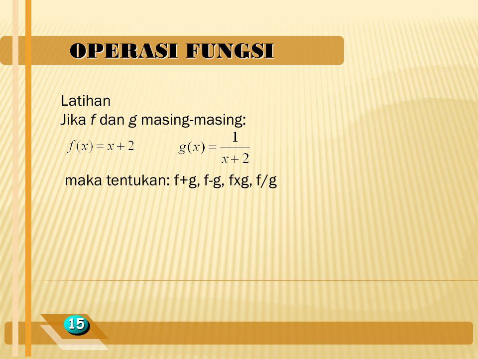 OPERASI FUNGSI 1515 Latihan Jika f dan g masing-masing: maka tentukan: f+g, f-g, fxg, f/g