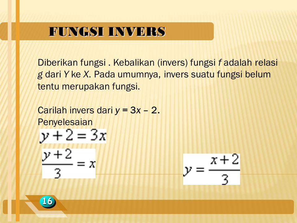 FUNGSI INVERS 1616 Diberikan fungsi. Kebalikan (invers) fungsi f adalah relasi g dari Y ke X. Pada umumnya, invers suatu fungsi belum tentu merupakan