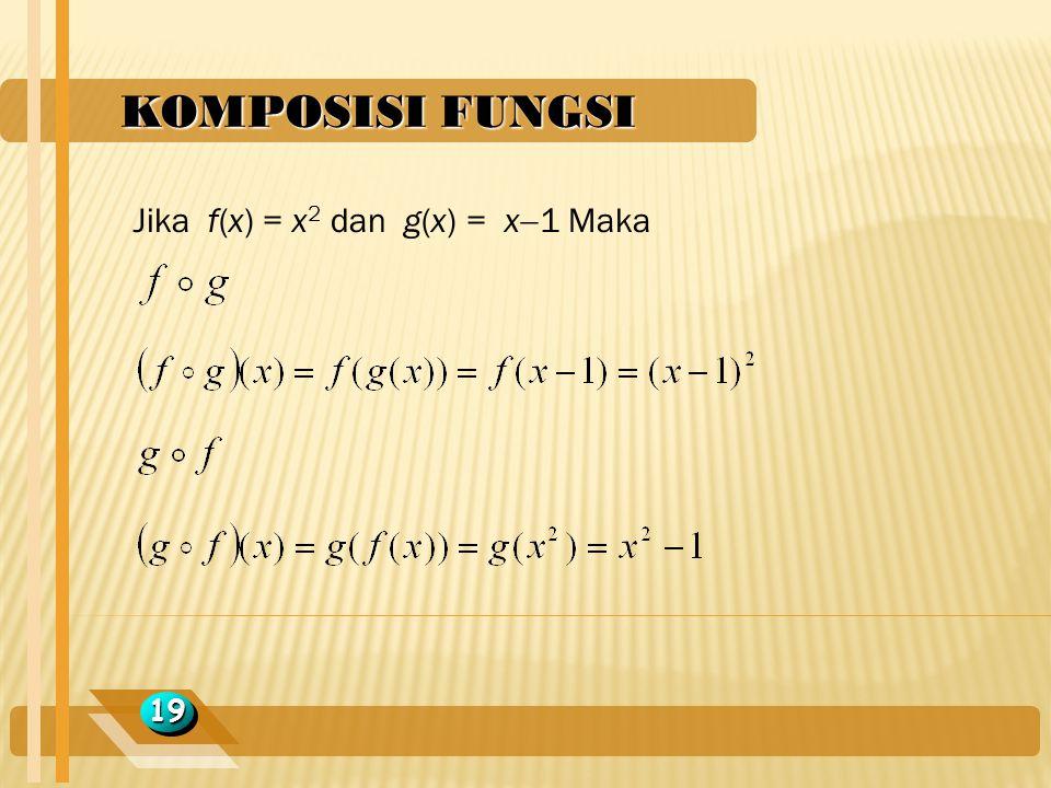 KOMPOSISI FUNGSI 1919 Jika f(x) = x 2 dan g(x) = x  1 Maka
