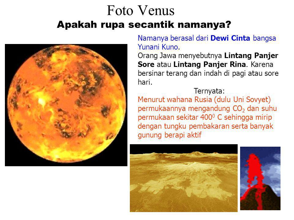 VENUS Disebut juga : Bintang Pagi, Lintang Panjer Sore, Lintang Panjer Rina Ukurannya sebesar bumi oleh karena itu disebut planet kembaran bumi Ilmuwa