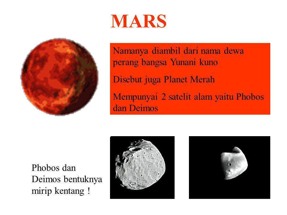 BUMI 75% terdiri permukaan berupa air. 25% daratan Mempunyai 1 satelit yaitu Bulan Kala revolusi bumi mengelilingi matahari 364¼ hari. Sedangkan kala