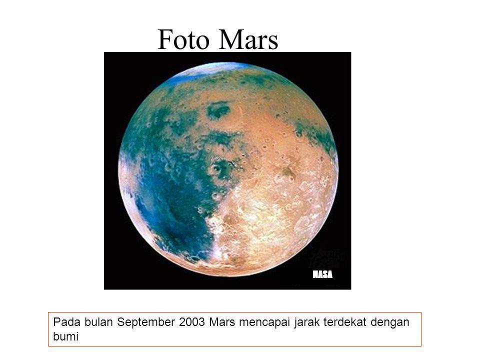 MARS Namanya diambil dari nama dewa perang bangsa Yunani kuno Disebut juga Planet Merah Mempunyai 2 satelit alam yaitu Phobos dan Deimos Phobos dan De