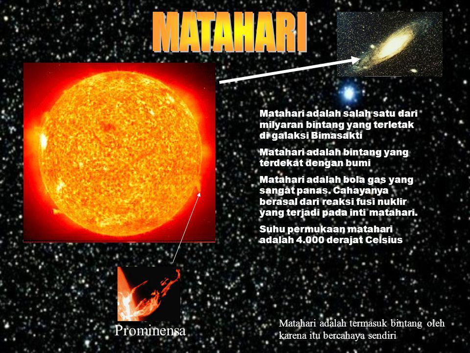 Beda Matahari & Planet MATAHARIPLANET Matahari adalah sebuah bintang karena itu bercahaya sendiri Planet mendapat sinar pantulan dari matahari Jauh le
