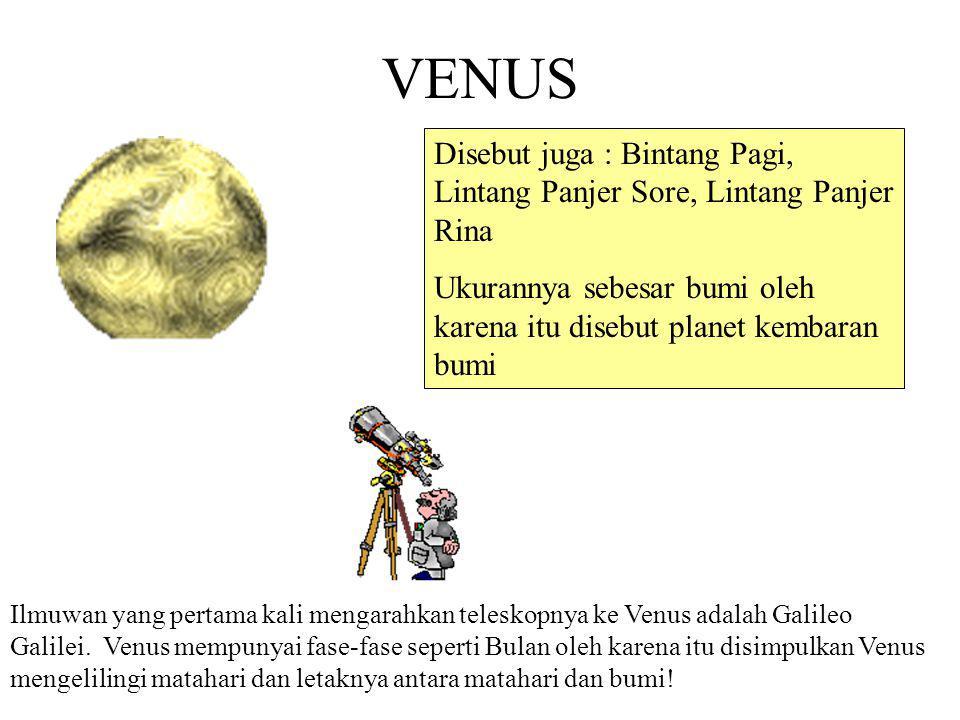 MERKURIUS Data Planet: a.Planet terkecil di Tata Surya dan terdekat dengan matahari b.Permukaannya mirip bulan (banyak di bombardir oleh meteorit)